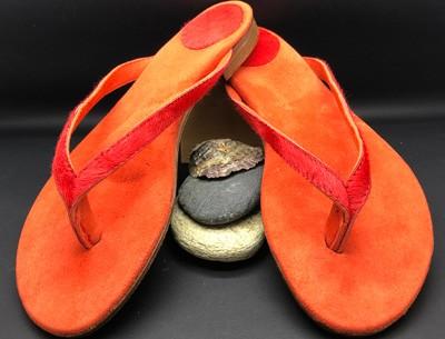 Münchener Schuhwerkstätten IsarFlips Kuhfell orange