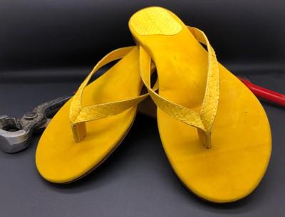 Münchener Schuhwerkstätten IsarFlips Lachsleder limone